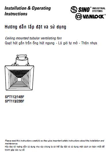 Quạt hút trần ống hút ngang - Lá tó tự mở - Thân nhựa