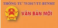 THÔNG TƯ 75/2017/TT-BTNMT - QUY ĐỊNH VỀ BẢO VỆ NƯỚC DƯỚI ĐẤT TRONG QUÁ TRÌNH KHAI THÁC