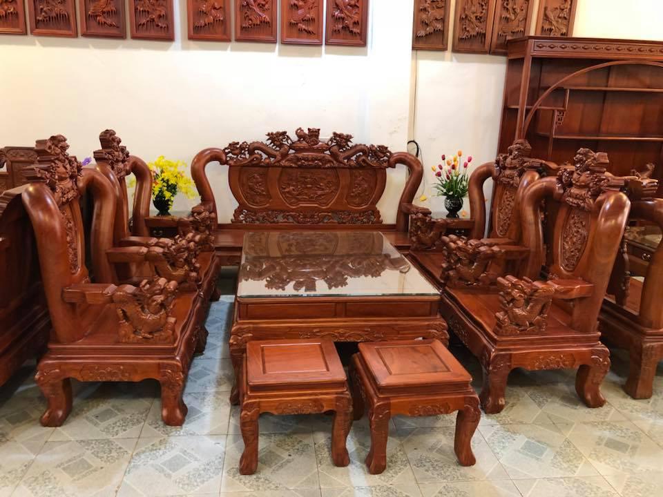 Bộ bàn ghế gỗ phòng khách Nghê Đỉnh gỗ hương đá cột 12