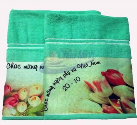 Khăn tắm quà tặng ngày Phụ nữ Việt Nam - in chuyển nhiệt