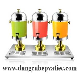 bình nước trái cây cao cấp 3 bình, binh nuoc trai cay mau vang dong, bình giữ lạnh nước trái cây màu vàng đồng, bình trưng bày lạnh nước trái cây màu vàng đồng, luxury juice dispenser 3 tank