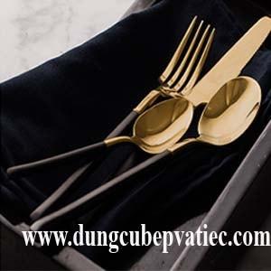 dao muong nia inox ma vang, dao thia dia inox cao cap, bộ dao muỗng nĩa mạ vàng, set bộ 4 cái dao muỗng nĩa cao cấp, bộ muỗng nĩa mạ vàng