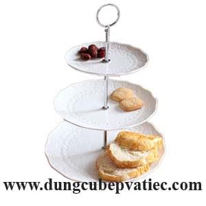 dĩa tầng trưng bày trái cây bánh ngọt, dĩa 3 tầng trưng bày buffet, dĩa 3 tầng trưng bày bánh, dĩa sứ 3 tầng