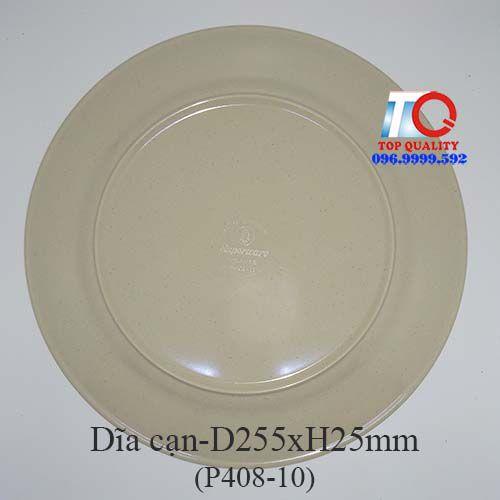 Dĩa nhựa melamine cạn màu nâu đá P408-10