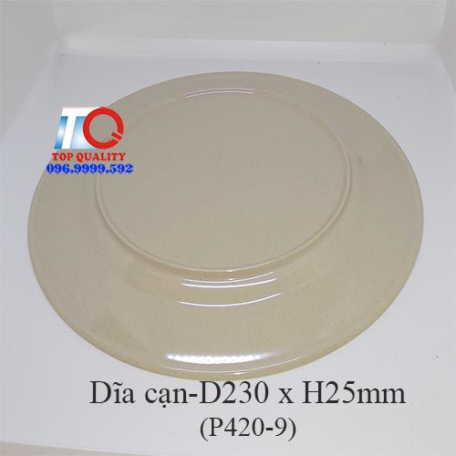 Dĩa nhựa melamine cạn nâu đá P420-9