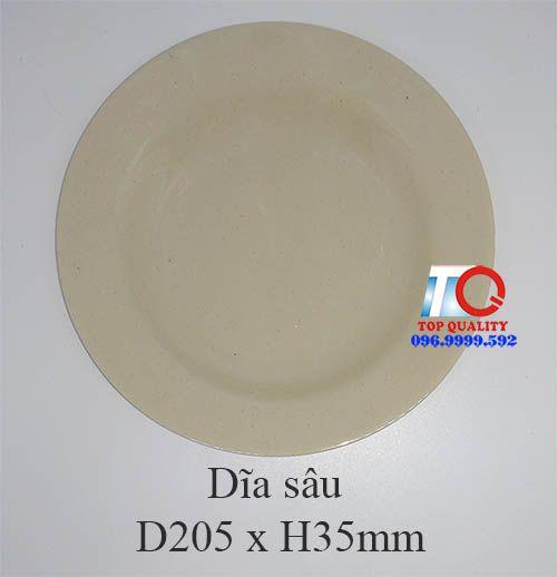 Dĩa melamine sâu lòng màu nâu đá-P182-8