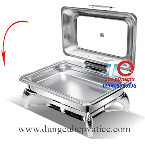 electric rectangle glass lid chafing dish 9 l