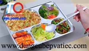 khay com inox 5 ngan, khay an inox 5 ngan, khay đựng cơm inox, khay cơm công nghiệp, khay inox 304