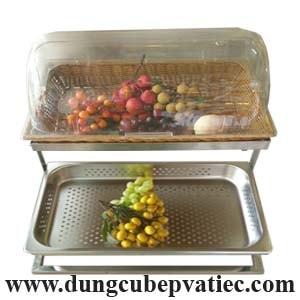 kệ trưng bày buffet 2 tầng, kệ trưng bày bánh 2 tầng, kệ trưng bày trái cây, kệ buffet có nắp, kệ inox trưng bày buffet