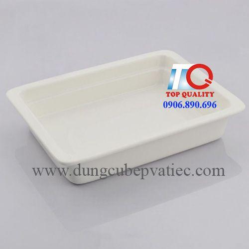 Khay buffet bằng sứ trắng gn 2/3; khay cont sứ;