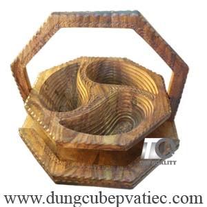 khay đựng bánh mứt tết 3 ngăn bằng gỗ sheesham của ấn độ