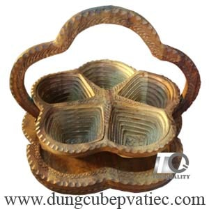Khay gỗ xếp đựng bánh mứt hạt dưa tết 5 ô, quà tết cao cấp