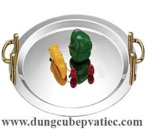 khay inox tròn 2 quai tay mạ vàng, khay inox tròn trưng bày buffet, khay inox tròn phục vụ cao cấp