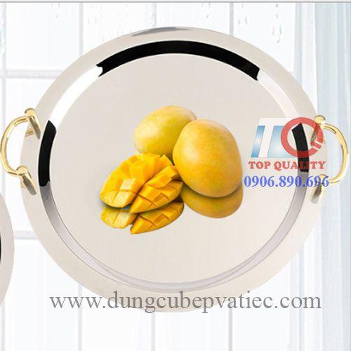 Khay inox tròn tay nắm quai vàng D500mm
