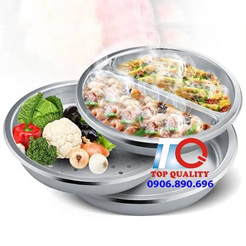 khay buffet inox tron, khay-inox-bau-duc, khay inox buffet, khay buffet tron co lo