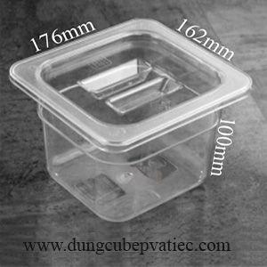 Khay nhựa mika có nắp GN 1/6x100