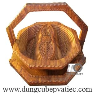 khay gỗ đựng mứt tết 2 ô, hộp gỗ 2 ô đựng mứt hình bán nguyệt