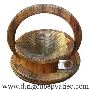 khay gỗ xếp tròn đựng trái cây ngày tết