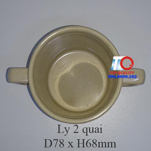 Ly cốc nhựa melamine 2 quai màu nâu đá