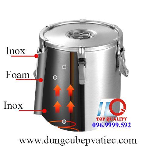 thùng inox quận 1, thùng bảo ôn 50 lít, thùng inox 50 lít, thùng bảo ôn tphcm, thùng inox nắp bằng, Thùng inox bảo ôn nắp bằng 50 lit