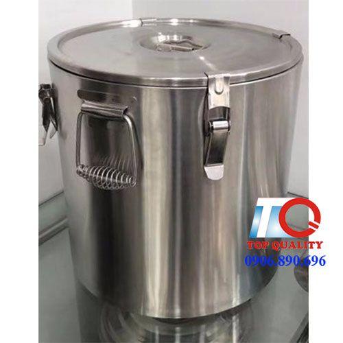 thùng ủ giữ nhiệt nắp bằng 32 lít, thùng inox cách nhiệt tại phú quốc