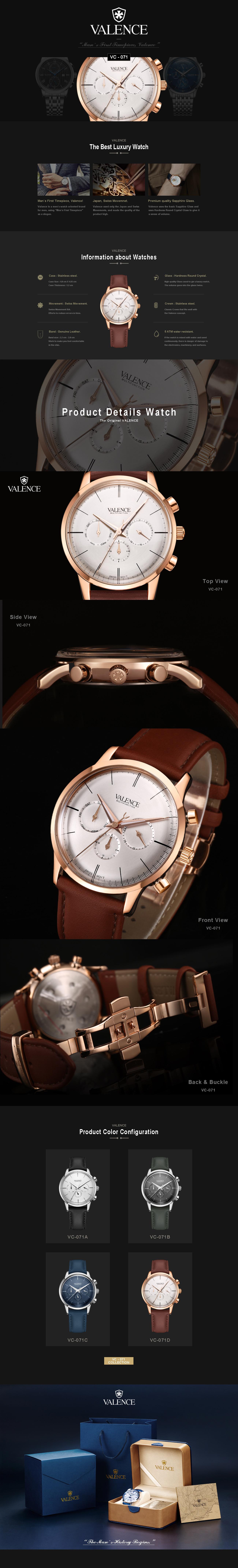 Đồng hồ nam valence vc-071