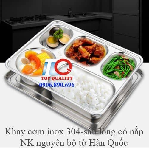 khay 5 ngan inox 304 cao cap dung com van phong hoc sinh