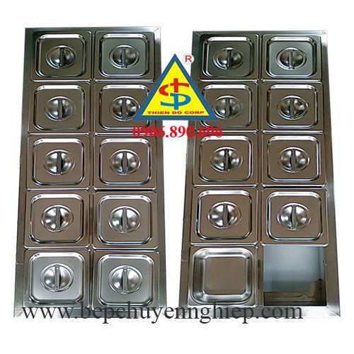 thùng đá inox giữ nhiệt topping 10 khay, hộp inox giữ nhiệt trưng bày topping