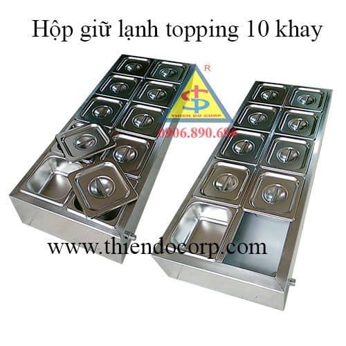 hộp topping 10 khay inox. ban hop topping 10 khay, gia hop dung topping
