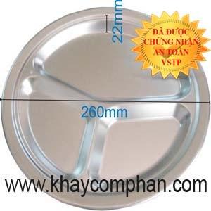 Khay ăn inox an toàn cho em bé, khay ăn inox trẻ em, khay ăn inox mầm non, khay ăn inox tiểu học, khay cơm inox tròn 3 ngăn