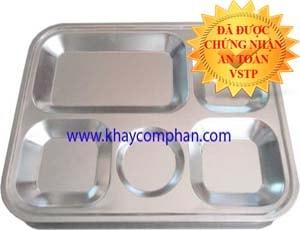 Khay cơm inox 5 ngăn 304 size nhỏ, khay cơm 304 tiểu học, khay ăn trẻ mầm non 304, khay cơm phần 304 size nhỏ