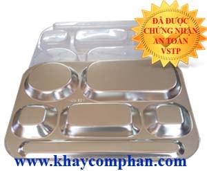 khay-com-phan-inox-6-ngan-inox-304, khay com phan inox 304 6 ngan, khay cơm phần 6 ngăn inox 304 có nắp, khay chia suất cơm phần 6 ngăn, khay chia suất 6 ngăn inox 304