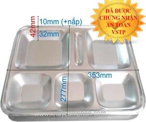Khay đựng cơm bằng inox 6 ngăn có nắp