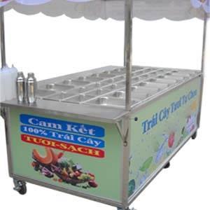 Xe bán trái cây dĩa tự chọn, xe bán trái cây tô, xe bán trái cây xô
