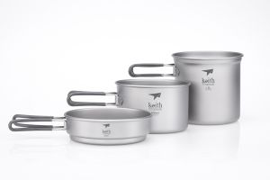 Bộ nồi Keith 3-Piece Titanium Pot and Pan Cook Set Ti6014