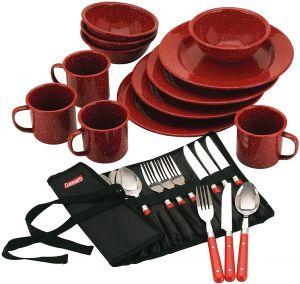Coleman 24 Piece Enamel Dinnerware Set - Red