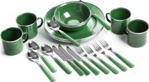 Set tráng men Stansport Deluxe 24 Piece Enamel Tableware - Green