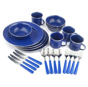 Set tráng men Stansport Deluxe 24 Piece Enamel Tableware - Blue