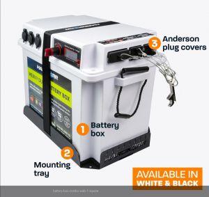 HardKorr Heavy Duty Battery Box Combo with Tray & Plug Covers - Black