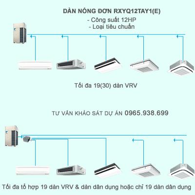 Dàn nóng trung tâm VRV IV RXYQ12TAY1(E) kết nối tối đa 19 dàn VRV