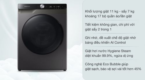 Máy giặt sấy Samsung AI Inverter 11kg WD11T734DBX/SV