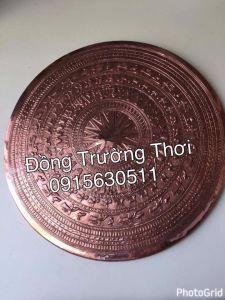 Mặt trống đồng gò tay thúc nổi- chất liệu đồng đỏ. kích thước 1m2