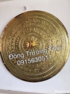 Mặt trống đồng gò tay thúc nổi -chất liệu đồng vàng, kích thước 1m2