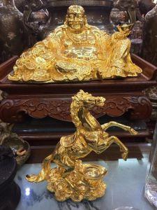 Ông di lặc -ngựa phong thủy mạ vàng