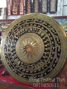 Mặt trống gò tay thúc nổi sơn đen - chất liệu đồng vàng -đường kính 80cm