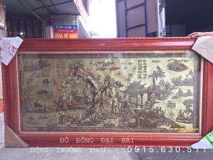 Tranh đồng quê xước3D,chất liệu đồng vàng, kích thước 1m2-2m3, khung gỗ chò chỉ đã qua xử lí.