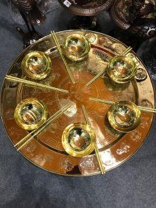 Bộ mâm bát đồng vàng đánh bóng chạm tứ linh