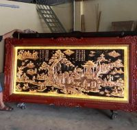Tranh đồng quê đồng đỏ 1m2 -2m3 - khung gỗ tần bì chạm hoa văn cực đẹp