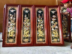 Tứ quý 1m2 dát vàng  điểm - khung gỗ tần bì
