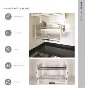 Giá bát di động inox bóng (H-BD118D)